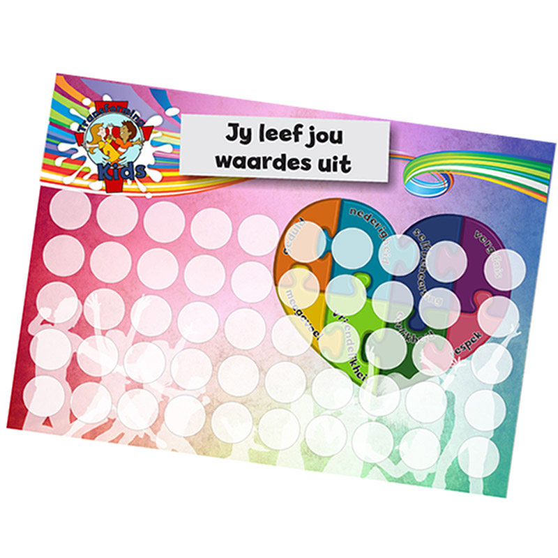 B5. Values Program – Love – A5 Round Sticker Cards – Afrikaans