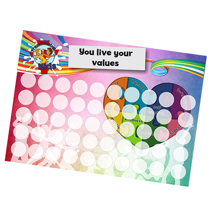 B6. Values Program – Love – A5 Round Sticker Cards – English