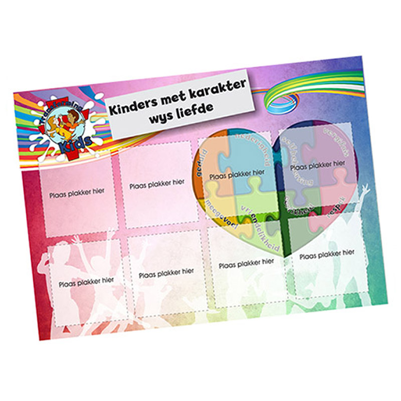 B1. Values Program – Love – A5 Square Sticker Cards – Afrikaans