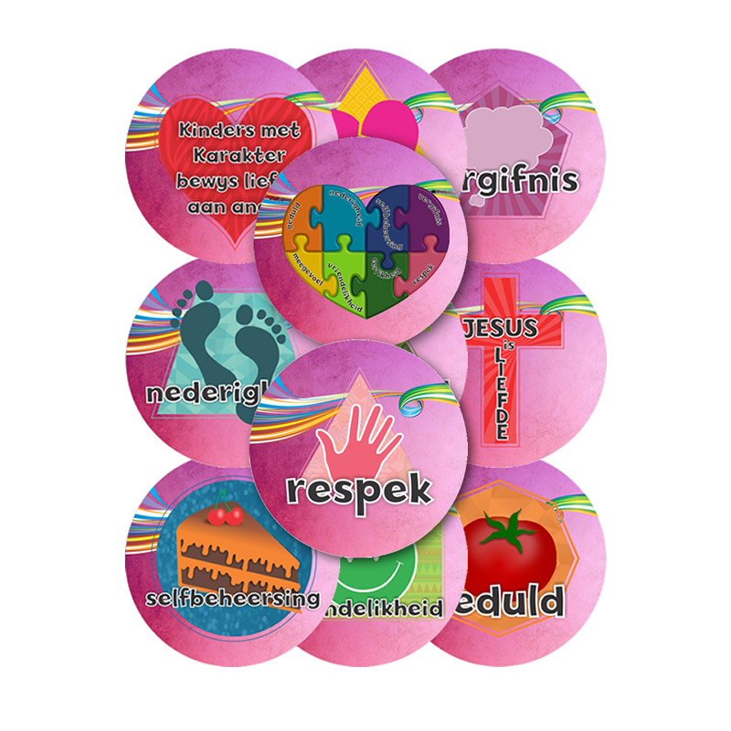 C5. Values Program – Love – 45mm Badges Set of 11 – Afrikaans