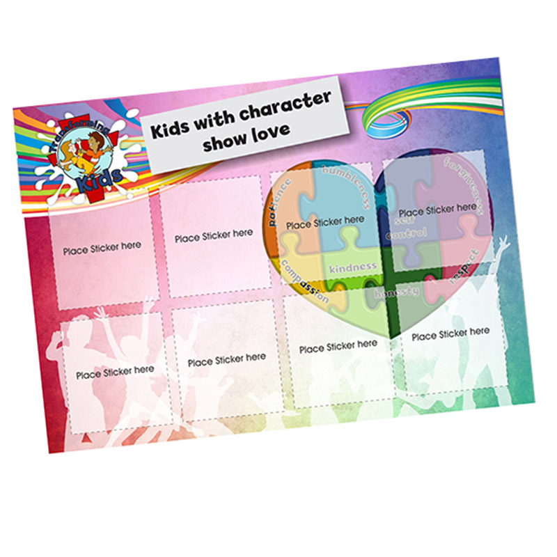 B3. Values Program – Love – A5 Square Sticker Cards – English