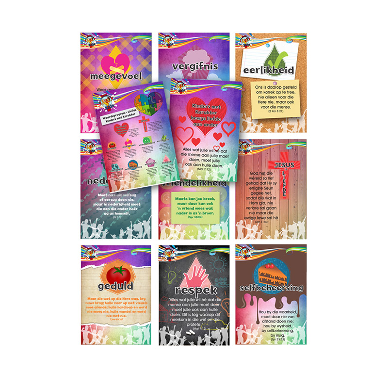A8. Values Program – Love – A4 Posters (set of 11) – Afrikaans