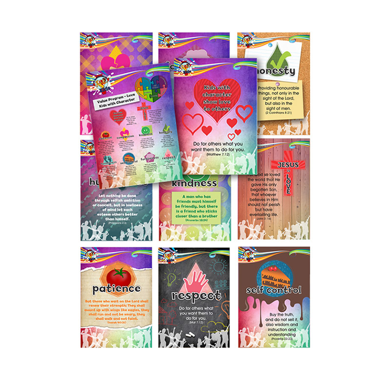 A9. Values Program – Love – A4 Posters (Set of 11) – English