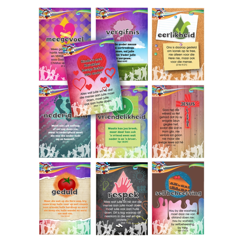 B8. Values Program – Love – A7 Collection Cards (Set of 10) – Afrikaans