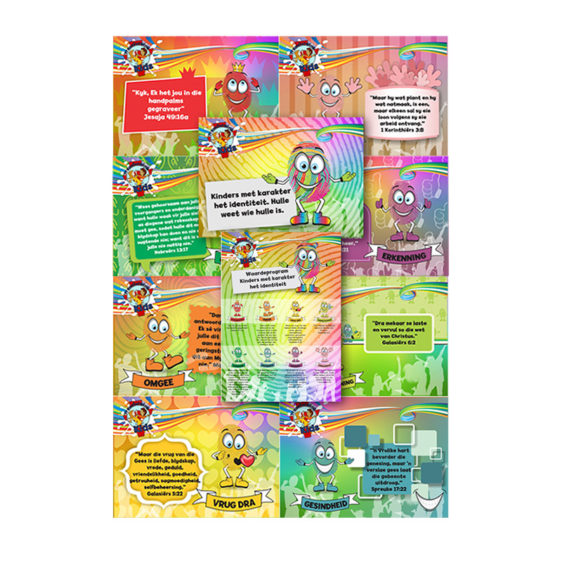 D8. Values Program – Identity – A4 Posters (set of 10) – Afrikaans