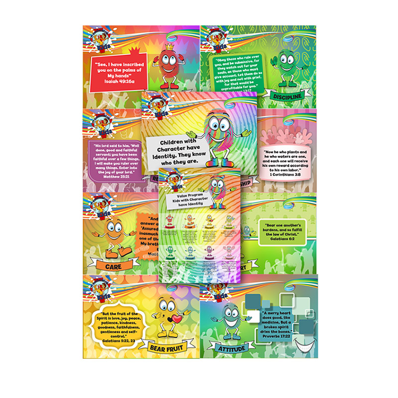 D9. Values Program – Identity – A4 Posters (Set of 10) – English