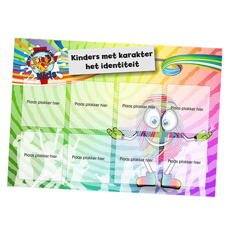 E1. Values Program – Identity – A5 Square Sticker Cards – Afrikaans