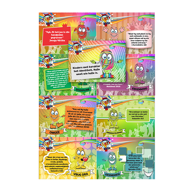 E8. Values Program – Identity – A7 Collection Cards(Set of 9) – Afrikaans