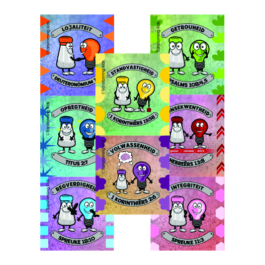 J2.Values Program – Salt & Light- 35mm Square Sticker Set of 8 – Afrikaans