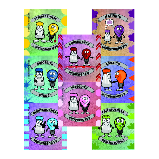 J4. Values Program – Salt & Light – 35mm Square Sticker Set of 8 – English