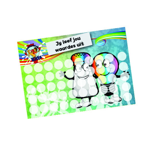 J5. Values Program – Salt & Light – A5 Round Sticker Cards – Afrikaans