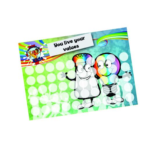 J6. Values Program – Salt & Light – A5 Round Sticker Cards – English