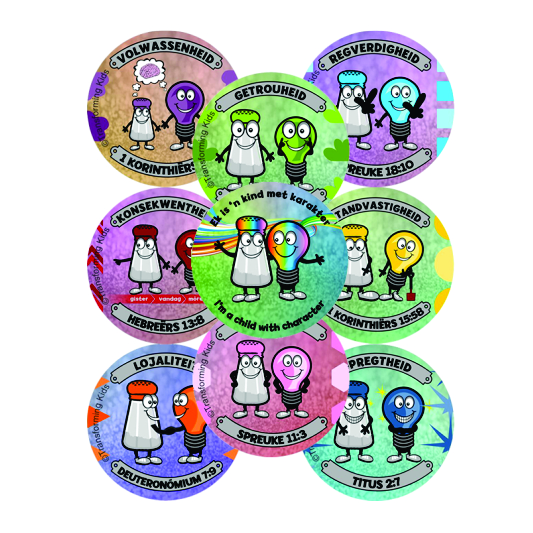 K3. Values Program – Salt & Light – 45mm Badges Set of 9 – Afrikaans