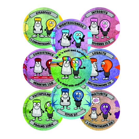 K4. Values Program – Salt & Light – 45mm Badges Set of 9 – English